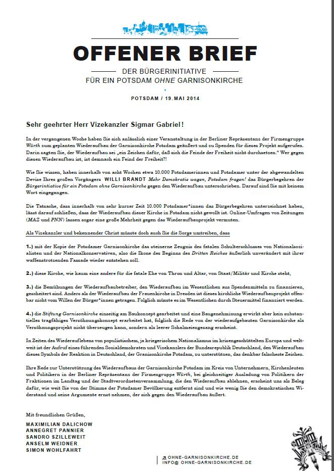 Anklicken für PDF mit offenem Brief zur Garnisonkirche Potsdam